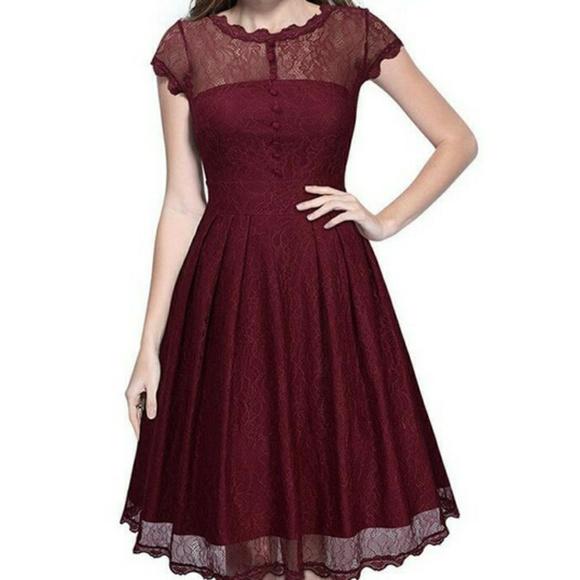 76% off Modcloth Dresses Burgundy Lace Cocktail Party Dress Xxl ...